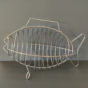 Vintage stainless steal fish shape basket w/handle